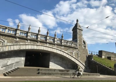 bike train and tram antwerp belgium